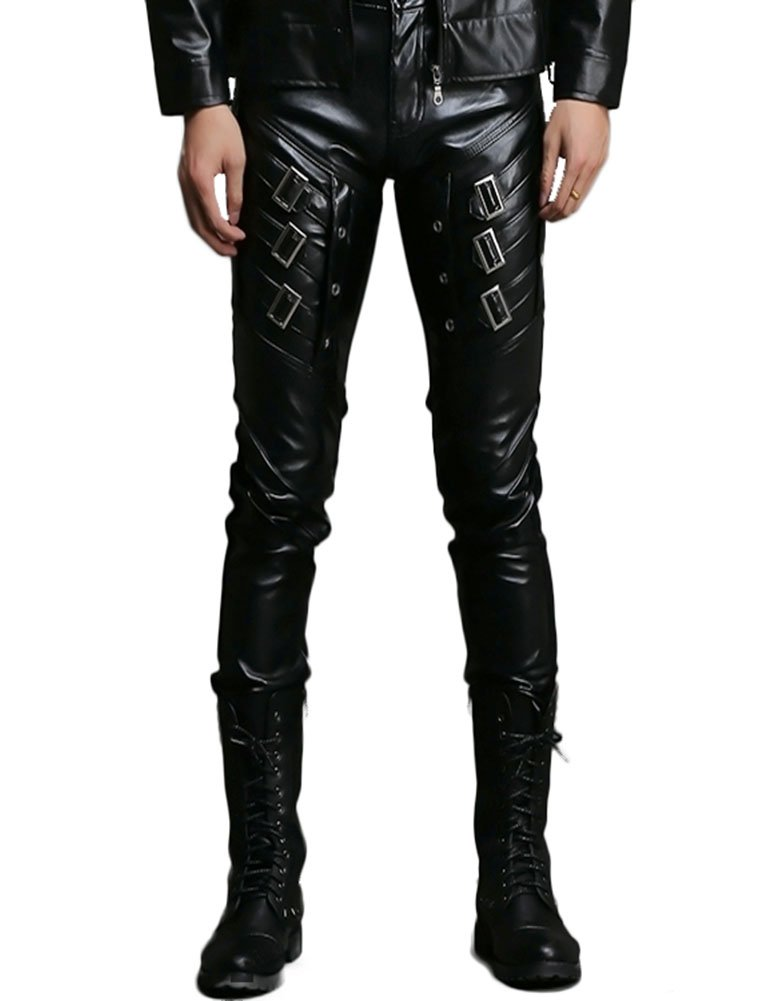 Idopy Men`s Black Slim Fit Soft PU Faux Leather Biker Pants (W38, W046 Black) by Idopy