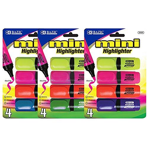 BAZIC Mini Desk Style Fluorescent Highlighters (4/Pack) (Case of (Mini Fluorescent Highlighter)