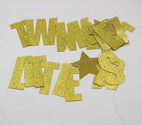 Mybbshower Gold Glittery Twinkle Twinkle Little Star Garland Birthday Party Decoration