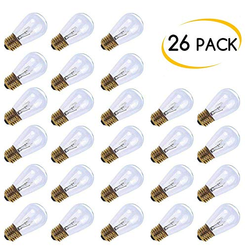 MineTom 26-Pack S14 Replacement Light Bulbs - 11 Watt Warm Incandescent Edison Light Bulbs with E26 Medium Base for Commercial Grade Outdoor Patio String Lights