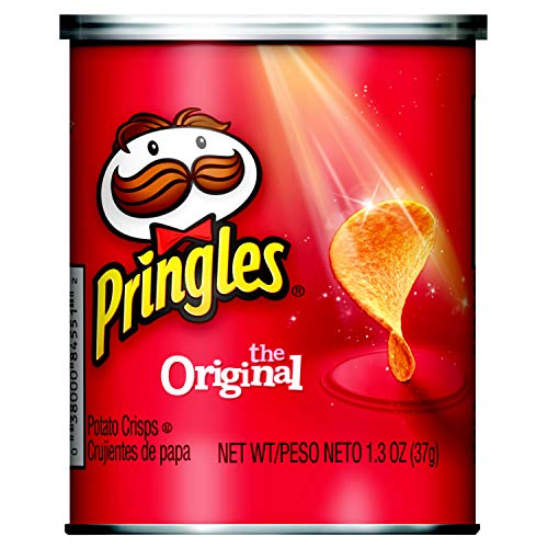 Pringles Potato Crisps Chips, Original Flavored, Single Serve, Grab and Go, 2.3 oz Can(Pack of 12)