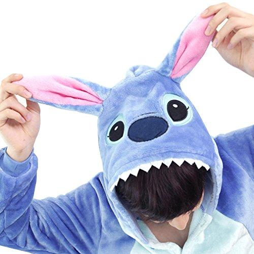 [Adstry Cosplay Kigurumi Pajamas Sleepwear Costume Homewear Lounge Wear 04 Blue M] (Chun Li Wig)