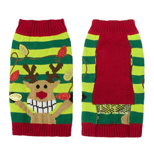 Picture of Friends Forever Reindeer Cozy Knit Winter Ugly Sweater Furry Stripe Pet Dog Cat Christmas Clothes Costume Apparel Large