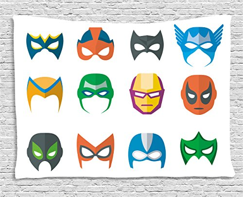 [Superhero Tapestry by Ambesonne, Hero Mask Female Male Costume Power Justice People Fashion Icons Kids Display, Wall Hanging for Bedroom Living Room Dorm, 80 W X 60 L Inches, Multicolor] (Female 80's Icons Costume Ideas)