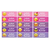 Set 68 Personalized kid Name back to school Stickers cute 13 patterns emoji face (pink on waterproof labels)