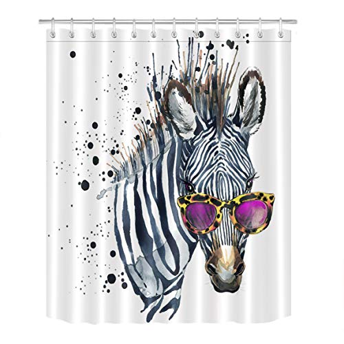 Cool Zebra in Glasses Artistic Shower Curtain for Bathroom by LB, Chic Funky Funny Hipster Hippie Striped Animal Theme Print, Mildew Resistant Waterproof Fabric Decor Curtain, 72 x 72 by LB