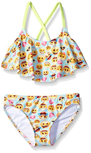 Freestyle Big Girls' Flounce Giggles Two Piece Swimsuit, Blue, 16