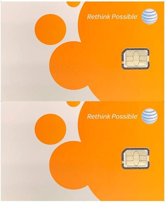 Paquete de 2 tarjetas SIM AT&T ATT Nano GSM 4G/3G/2G LTE Kit de iniciación prepago/postpago sin activar datos de texto de conversación y punto de acceso: Amazon.es: Electrónica