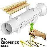 Sushi Bazooka, Sushi Mat and Two Sets of Bamboo Chopsticks and Silicone Helper (Training) Chopsticks,Kitchen Appliance Machine Rice Roller Making Kit