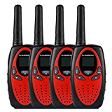 FLOUREON 4 Packs Walkie Talkies Two Way Radios 22 Channel 3000M (MAX 5000M open field) UHF Long Range Handheld (Red)