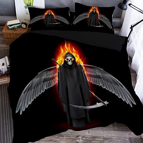 Zooka Halloween Skull Skeleton Grim Reaper Nightmare 3D Bedding Set Duvet Covers Pillowcases Anime Cartoon 3 Piece Bedclothes Kids Bed Linen Twin King Size (#2,Queen / 228228cm) ()