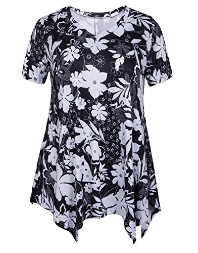 Knit Printed Tee - ZERDOCEAN Women Plus Size Printed Short Sleeves Tunic Tops Flowy T Shirt Style-809 1X