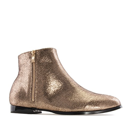 Andres Machado Am4095.flat Enkellaarzen In Glanzend Bronze.womens Large Szs: Us 11.5 To 13 / Eu 43 To 45 Shiny Gold