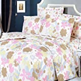 Blancho Bedding - [Pink Brown Flowers] 100% Cotton 4PC Comforter Cover/Duvet Cover Combo (Queen Size)