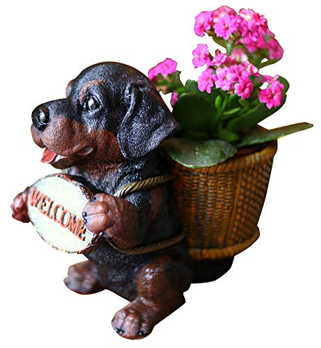 Funnuf Resin Outdoor Statues Adorable Dog Garden Welcome Statue with Flower Pot, Beagle, 8.7 in
