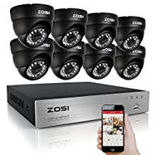 ZOSI 8Channel HD-TVI 1080N Video DVR 8x Outdoor Indoor Waterproof Day Night Vision 720P High Resolution Security Surveillance Camera System NO Hard Drive(Black)