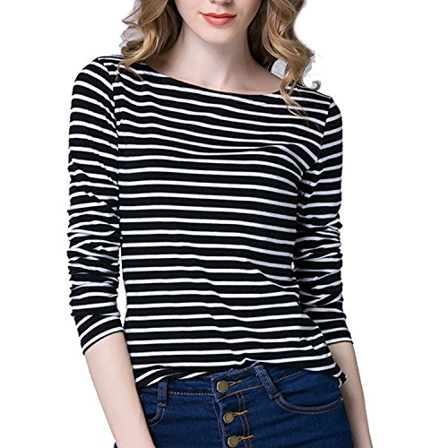 Tulucky Women's Casual Long Sleeve Shirts Stripe Tees Round Neck Tank Tops (L, Black)