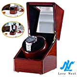 Watch Winder, Love Nest Automatic Single Watch Winder Rubber and Black Inside Velvet High-Grade Japanese Mabuchi Motor Wood Piano Finish Pure Handmade Watch Winder Box [Power Included]