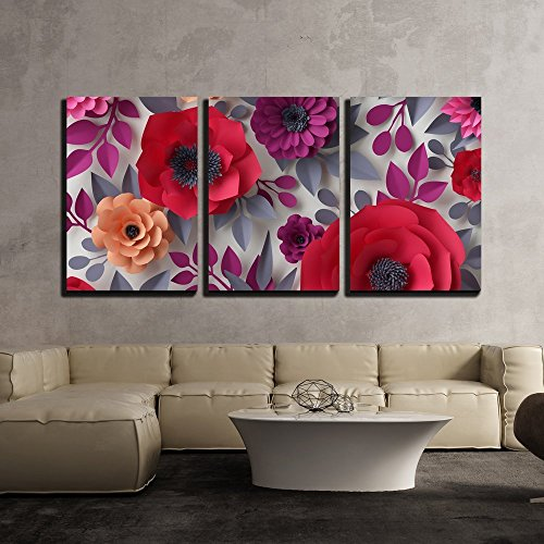 - wall26 - 3 Piece Canvas Wall Art - Illustration - 3d Render, Digital Illustration, Red Pink Paper Flowers, Bridal Bouquet - Modern Home Decor Stretched and Framed Ready to Hang - 24