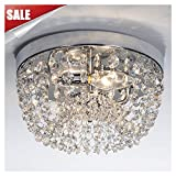 GLANZHAUS Small Style 9.84'' Chrome Finish Clear Cystal Chandelier, 2-Light Flush Mount Ceiling Light for Hallway Bar Kitchen Dining Room Kids Room
