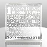 #9: Kate Posh - 1 Year as Husband and Wife - Our First Anniversary Gift Paperweight and Keepsake - Includes 2017 (Marriage Year) and 2018 (1st Anniversary Year) - 1st Anniversary Gifts for Couples