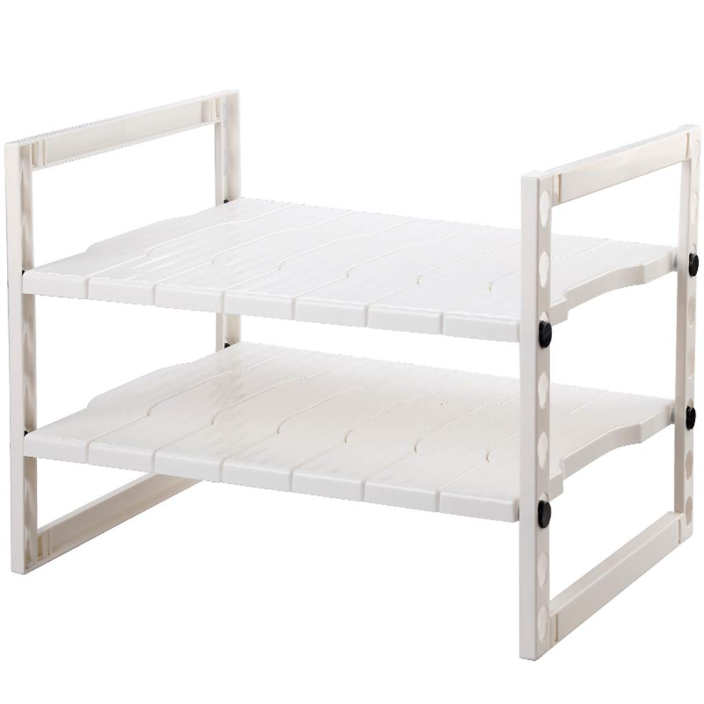 シェルフの下に2層の拡張可能なキッチンシンク、調整可能なストレージシェルフストレージキャビネット、ホワイト、(5486)* 40 * 40cm B07RPT68PV