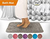 Yimobra Luxurious Bath Mat Large Size XL 31.5 x 19.8 Inch Soft Non slip Absorbent Water Bathroom Rug Gray with Brown free Wall Hooks 3 Pack