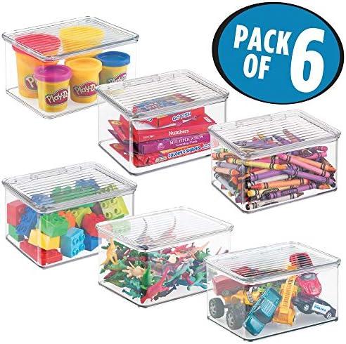 mDesign Práctico organizador de juguetes con tapa – Cajas de ...