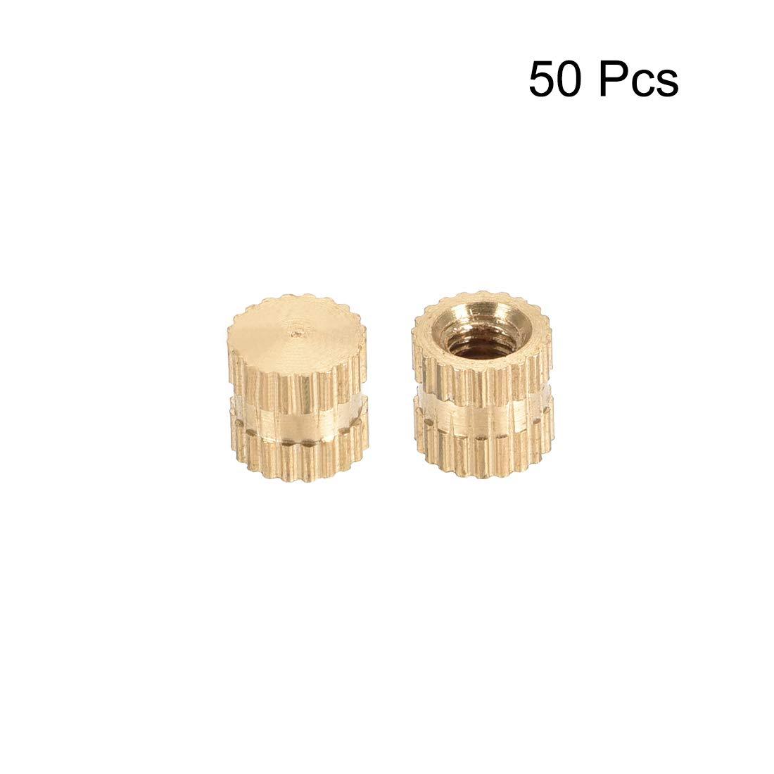 L M3 x 5mm Female Thread Brass Embedment Assortment Kit OD 50 Pcs uxcell Knurled Insert Nuts x 5mm