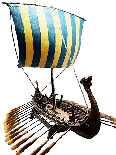 Scandinavian Viking Middle Ages War Ship Vessel Battle Longship Prototype Sculpture Figurine With Stand