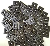 Self-Adhesive Cable Management Zip-Tie Anchor Mounts Package of 100 (1' x 1' Mount Pad, Black)