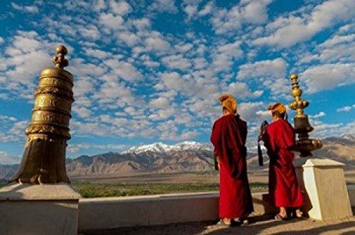 Monks playing horns at sunrise Thiksey Monastery Leh Ledakh India Poster Print by Ellen Clark (24 x 36)