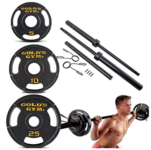 Olympic Weight Set 110 | USA Sports Olympic Black Weight Set with Black bar - 110 pounds | Fitness Gear Olympic Weight Set ()