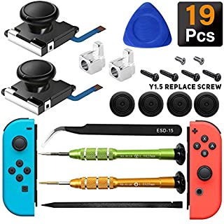 iiwey 2-Pack 3D Replacement Joystick Analog Thumb Stick for Switch Joy-Con Controller,2 Pack Joy-con Metal Latch, Include Y1.5 Screwdrivers,Joycon Joystick Replacement to Fix Drift Joy-con Stick