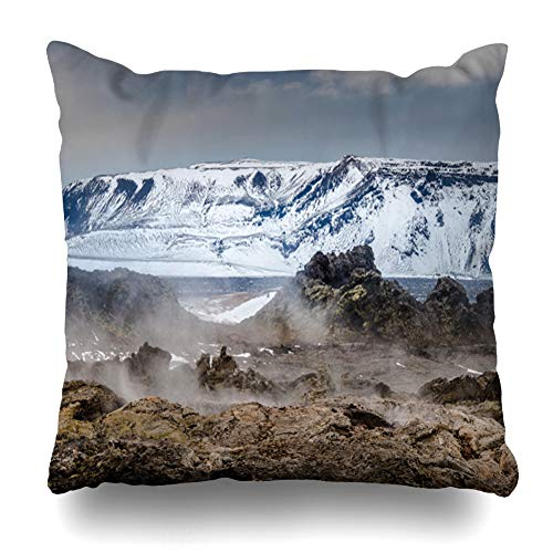 Ahawoso Throw Pillow Cover Iceland Energy Volcanic Icelandic Geothermal Area Steam Nature Ice Fire Mountain Scenery Design Zippered Pillowcase Square Size 18x18 Inches Home Decor Pillow Case