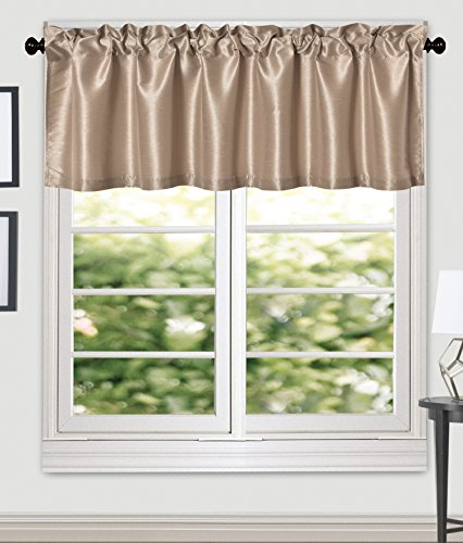 Aiking Home (Pack of 2 ) Solid Faux Silk Window Valance, 56 By 16 Inches, (Valance Silk Curtain)