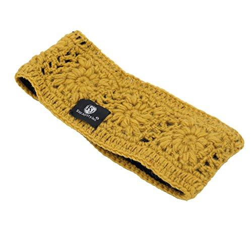 KayJayStyles Hand Knit Fleece Lined Head Wrap Headband Ear Warmer Nepal (Mustard)