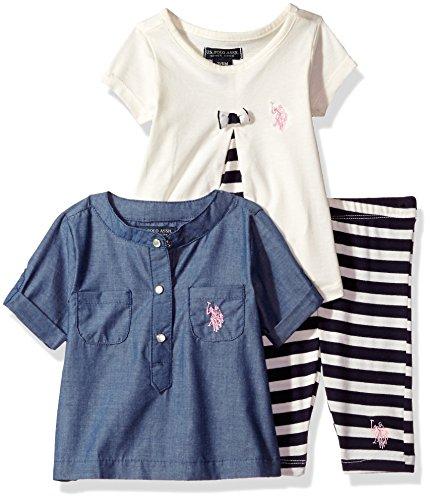 (U.S. Polo Assn. Baby Girls' Woven Shirt Knit PLTD FRNT Babydoll Tee and Striped Legging, Vanilla Y0KV38VAV, 6/9M)