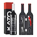 Kato Wine Bottle Accessories Set - Red Wine Corkscrew Opener Kit, Stopper, Aerator Pourer, Foil Cutter, Glass Paint Marker, with Free Drink Stickers, Best Gift for Father