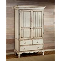 Wilshire Traditional Armoire w Drawers & Antique White Finish