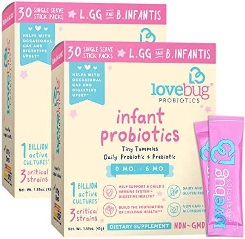 Lovebug Tiny Tummies Probiotic, 60 Packets, Infant & Baby probiotics Support for Babies 0-6 Months Old, Oral Probiotics Kids - Helps Reduce Crying & Fussiness (60)
