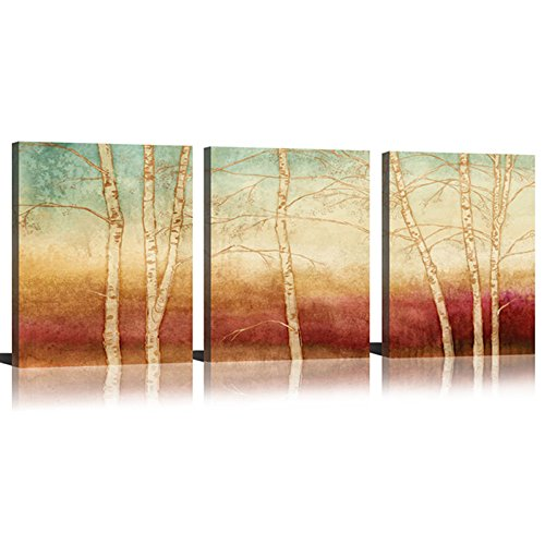 Art Painting Print Set (Birch Canvas Wall Art Tree Wall Decor Paintings On Canvas Prints Yellow Season Landscape Painting Abstract Art Wall Scenery Picture Framed For Home Decor Ready To Hang 3 Piece (12