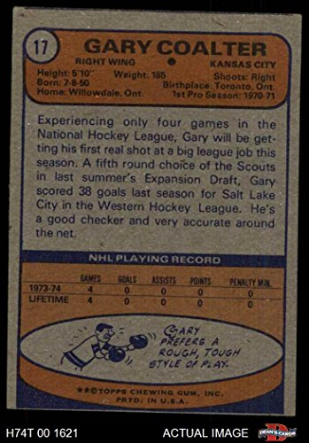 Amazon com: 1974 Topps # 17 Gary Coalter Scouts (Hockey Card) Dean's