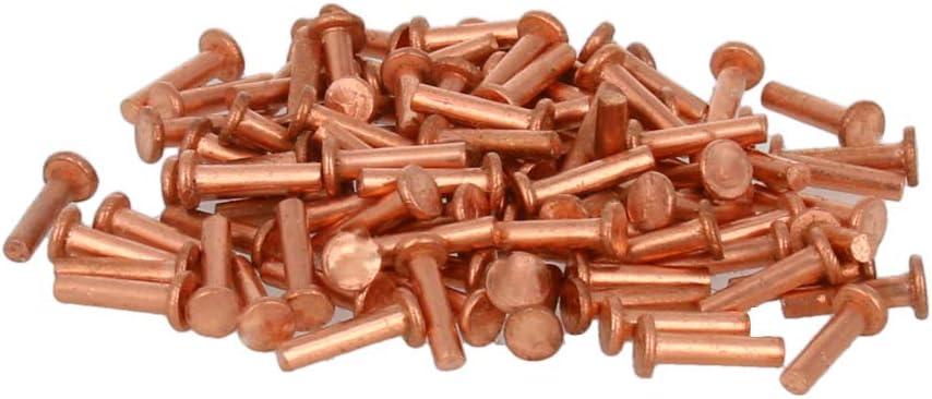 MroMax 200Pcs Diameter 2mm Long 8mm Flat Head Copper Solid Rivets Fasteners Rivet Brass Tone