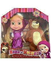 Masha and the Bear in purple dress