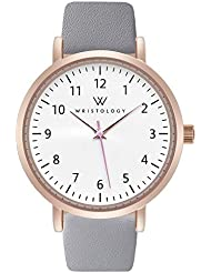 WRISTOLOGY Olivia Womens Numbers Rose Gold Boyfriend Watch Grey Leather Band