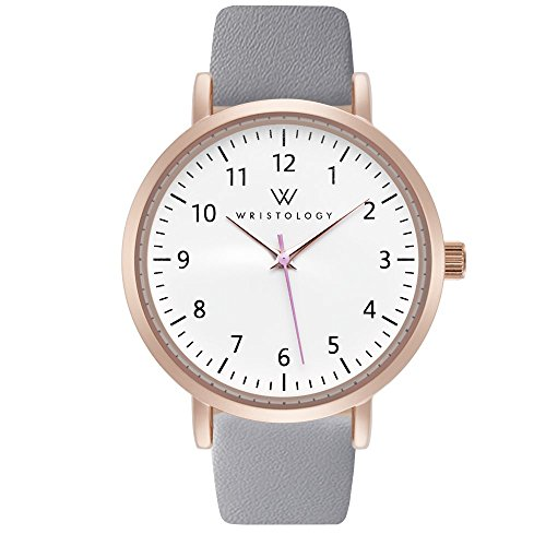 WRISTOLOGY Olivia Womens Rose Gold Numbers Wrist Watch Grey Leather -