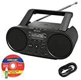 sharp radio cd usb - Sony Portable Full Range Stereo Boombox Sound System with MP3 CD Player, AM/FM Radio, 30 Presets, USB Input, Headphone & AUX Jack + DB Sonic AUX Cable & CD Head Cleaner