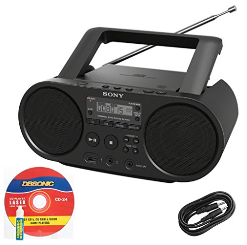 Sony Portable Full Range Stereo Boombox Sound System with MP3 CD Player, AM/FM Radio, 30 Presets, USB Input, Headphone & AUX Jack + DB Sonic AUX Cable & CD Head Cleaner (Kitchen Am Radio Fm Ipod)