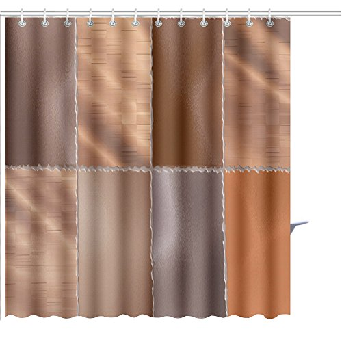 Zoyon Shower Curtain bronze metallic wallpaper checks tile Graphic Print Polyester Fabric Bathroom Decor Sets with Hooks 72